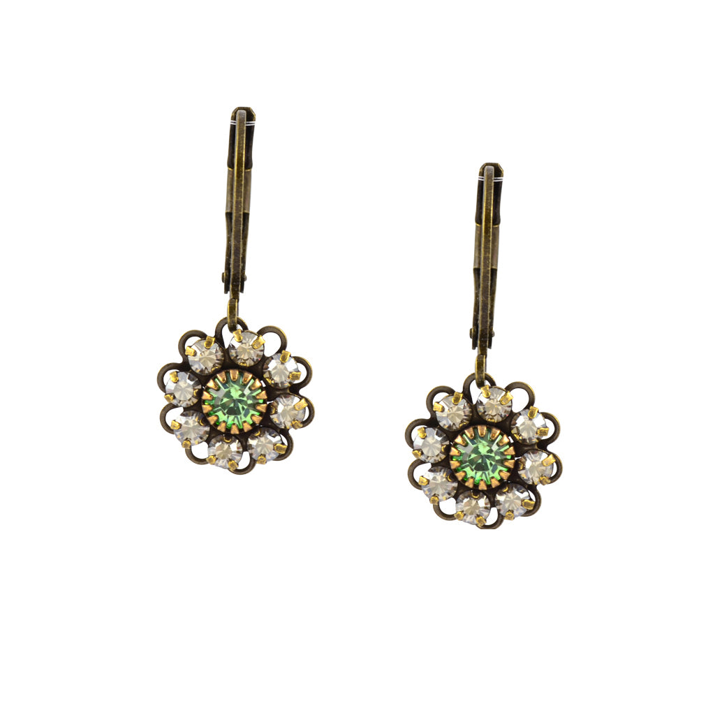 Caroline Heath Flower Earrings, Antique Brass Leverback Drop with Green Crystal
