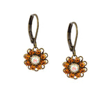 Caroline Heath Flower Earrings, Antique Brass Leverback Drop with Orange Crystal