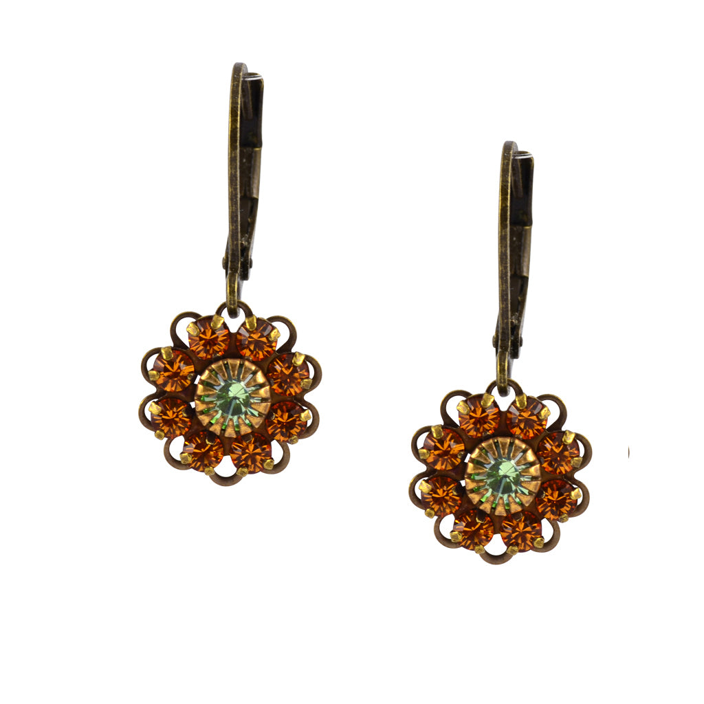 Caroline Heath Flower Earrings, Antique Brass Leverback Drop with Orange and Green Crystal