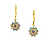 Caroline Heath Flower Earrings, Gold Plated Leverback Drop with AB Crystal