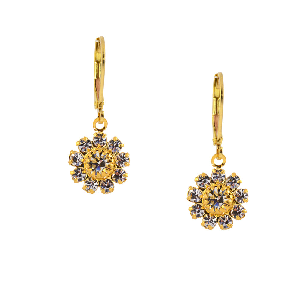 Caroline Heath Flower Earrings, Gold Plated Leverback Drop with Clear Crystal