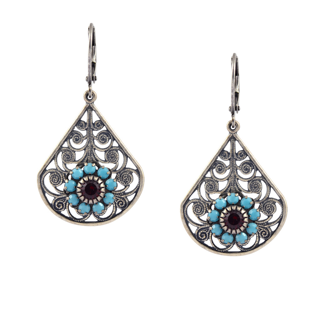 Caroline Heath Large Drop Flower Earrings, Silver Plated Leverback Drop with Teal and Red Crystal