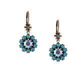 Caroline Heath Flower Earrings, Antique Brass Leverback Drop with Teal and AB Crystal