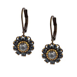 Caroline Heath Flower Earrings, Antique Brass Leverback Drop with Blue Crystal