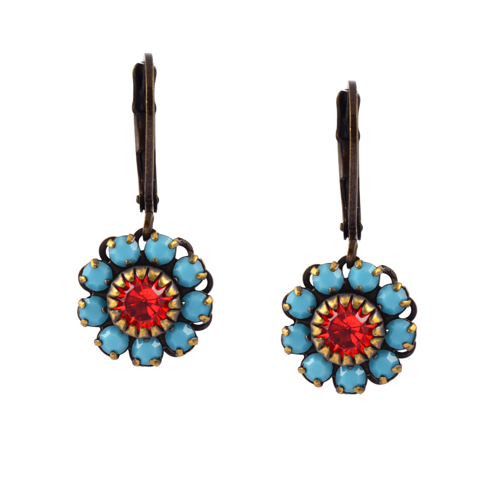 Caroline Heath Flower Earrings, Antique Brass Leverback Drop with Teal and Pink Crystal