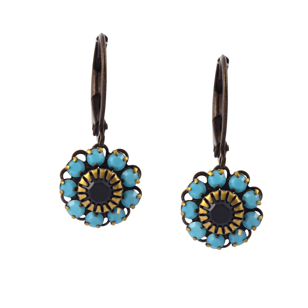 Caroline Heath Flower Earrings, Antique Brass Leverback Drop with Teal and Black Crystal