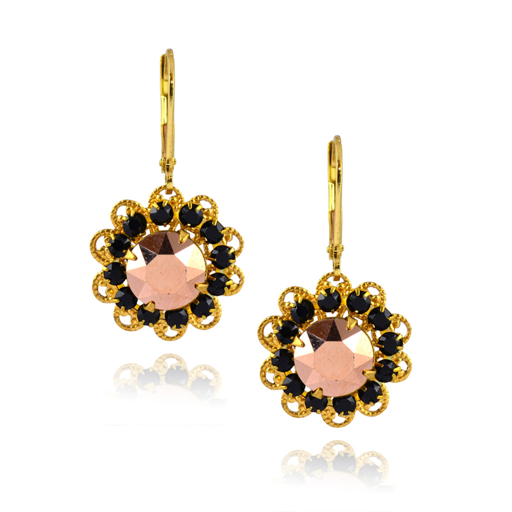 Caroline Heath Filigree Flower Earrings, Gold Plated Leverback Drop with Black Crystal