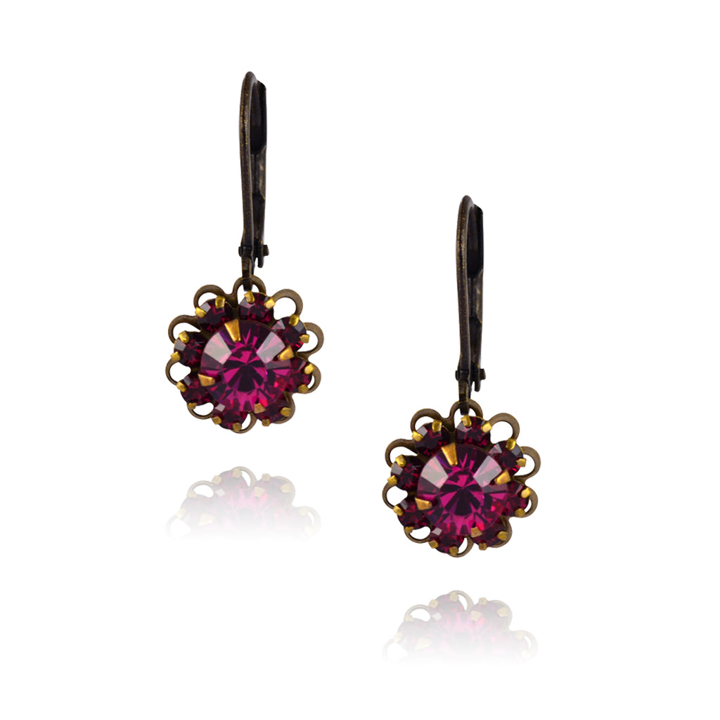 Caroline Heath Flower Earrings, Antique Brass Leverback Drop with Red/Pink Crystal