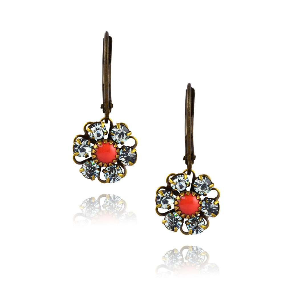 Caroline Heath Flower Earrings, Antique Brass Leverback Drop with Clear/Red Crystal