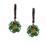 Caroline Heath Flower Earrings, Antique Brass Leverback Drop with Green and Yellow Crystal