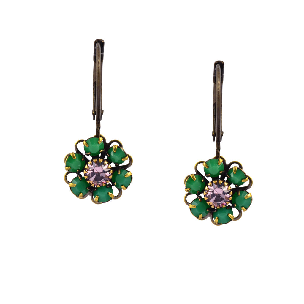 Caroline Heath Flower Earrings, Antique Brass Leverback Drop with Green and Purple Crystal