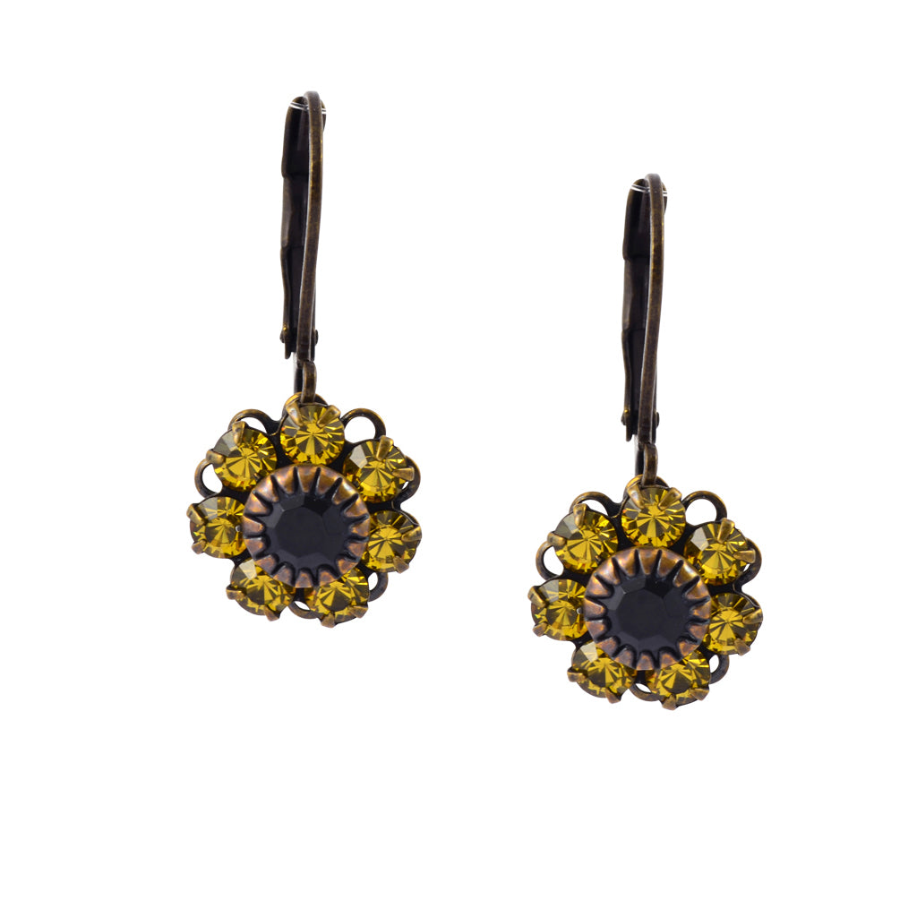 Caroline Heath Flower Earrings, Antique Brass Leverback Drop with Yellow and Black Crystal