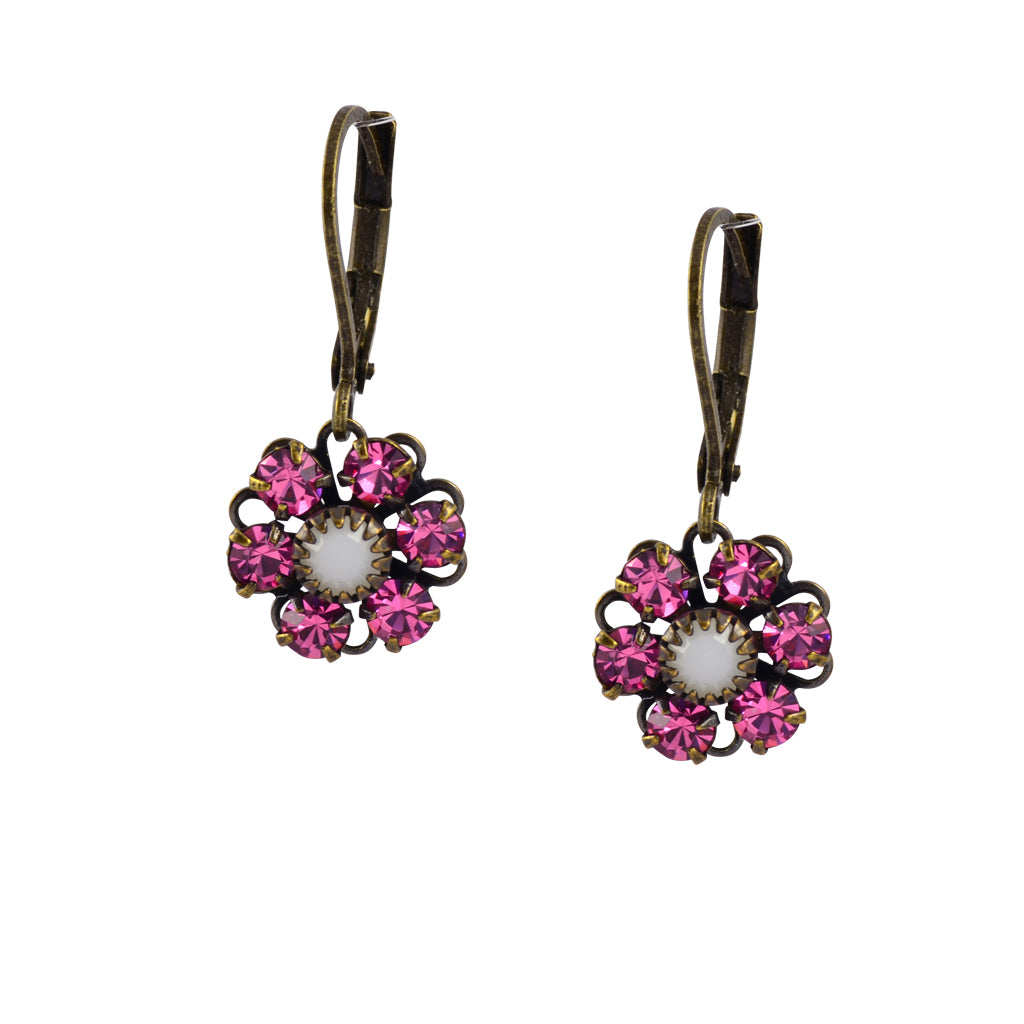Caroline Heath Flower Earrings, Antique Brass Leverback Drop with Pink and White Crystal