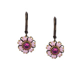 Caroline Heath Flower Earrings, Antique Brass Leverback Drop with Pink Crystal