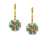 Caroline Heath Flower Earrings, Antique Brass Leverback Drop with Teal and Peach Crystal