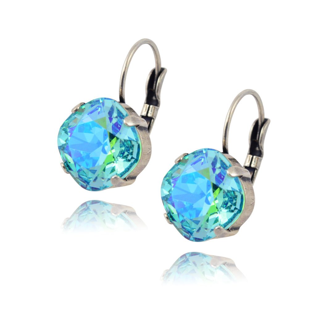 Caroline Heath Round Large Lozenge Cushion Crystal Leverback Earrings, Silver Plated with Astral Blue Crystal