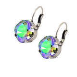 Caroline Heath Round Large Lozenge Cushion Crystal Leverback Earrings, Silver Plated with Paradise Shine Crystal