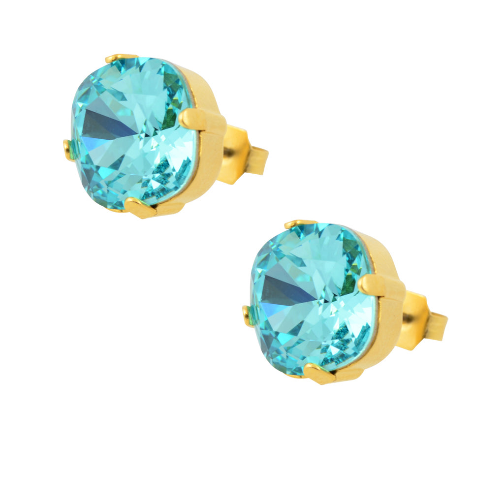 Caroline Heath Round Large Cushion Crystal Leverback Earrings, Gold Plated with Astral Aqua Crystal