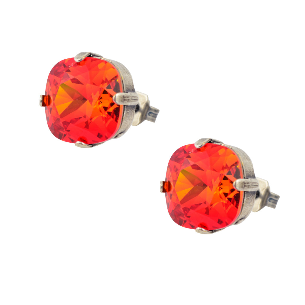 Caroline Heath Round Large Cushion Crystal Leverback Earrings, Silver Plated with Fire Red Crystal