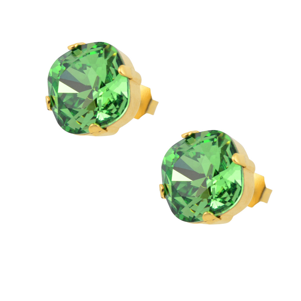 Caroline Heath Round Large Cushion Crystal Leverback Earrings, Silver Plated with Green Crystal