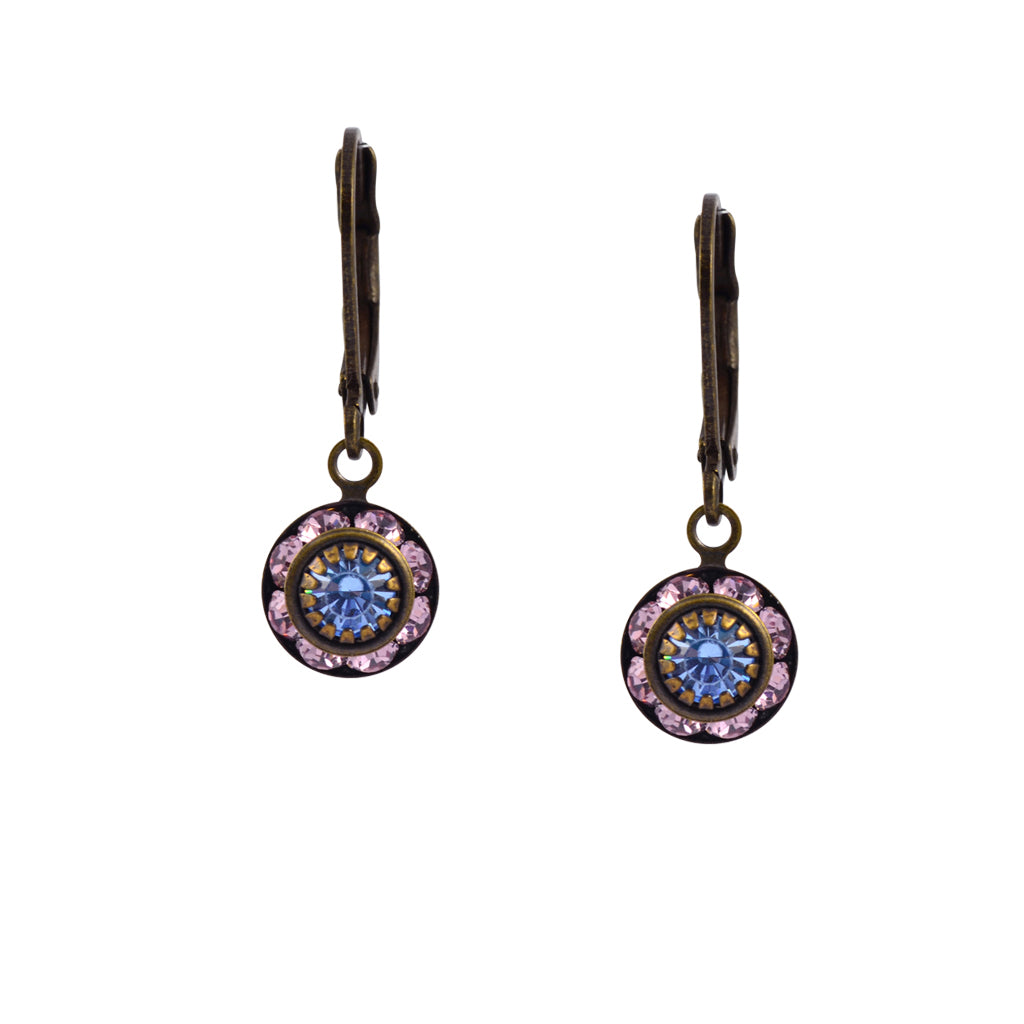 Caroline Heath Round Crystal Dangle Earrings, Brass Leverback Drop with Purple and Blue Crystal