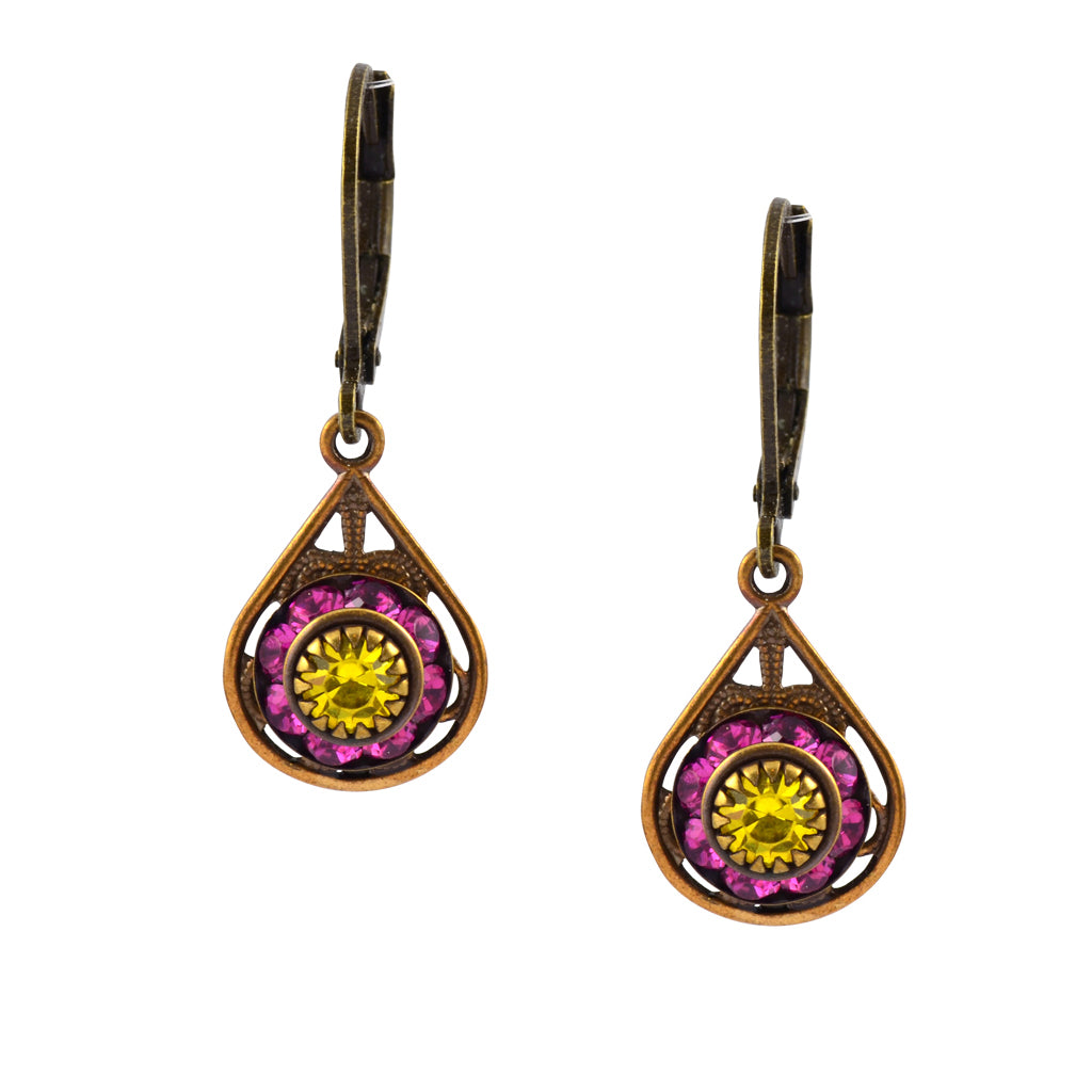 Caroline Heath Drop Crystal Dangle Earrings, Brass Leverback Drop with Pink and Yellow Crystal