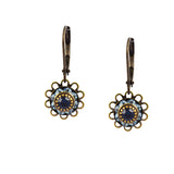 Caroline Heath Flower Crystal Dangle Earrings, Brass Leverback Drop with Blue Crystal