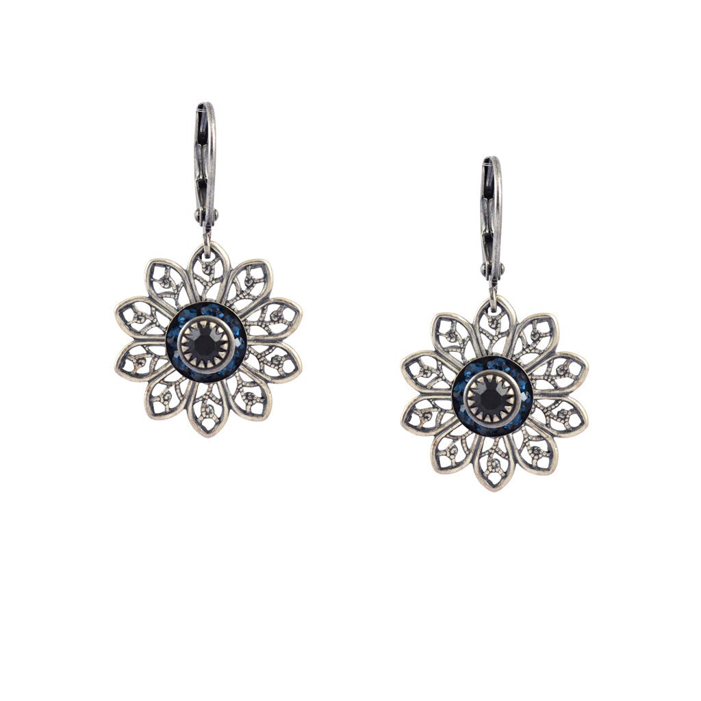 Caroline Heath Flower Crystal Dangle Earrings, Silver Plated Leverback Drop with Aqua and Black Crystal
