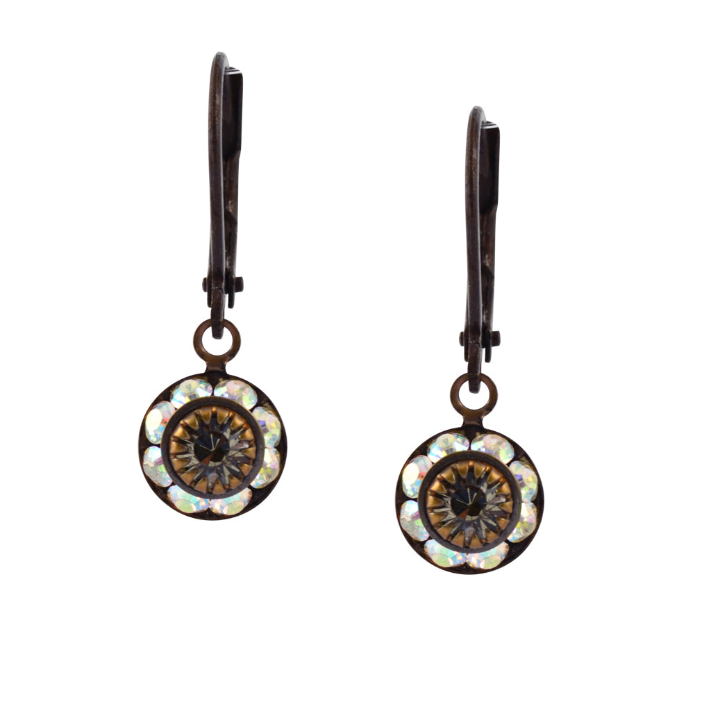 Caroline Heath Round Crystal Dangle Earrings, Brass Leverback Drop with AB and Gray Crystal