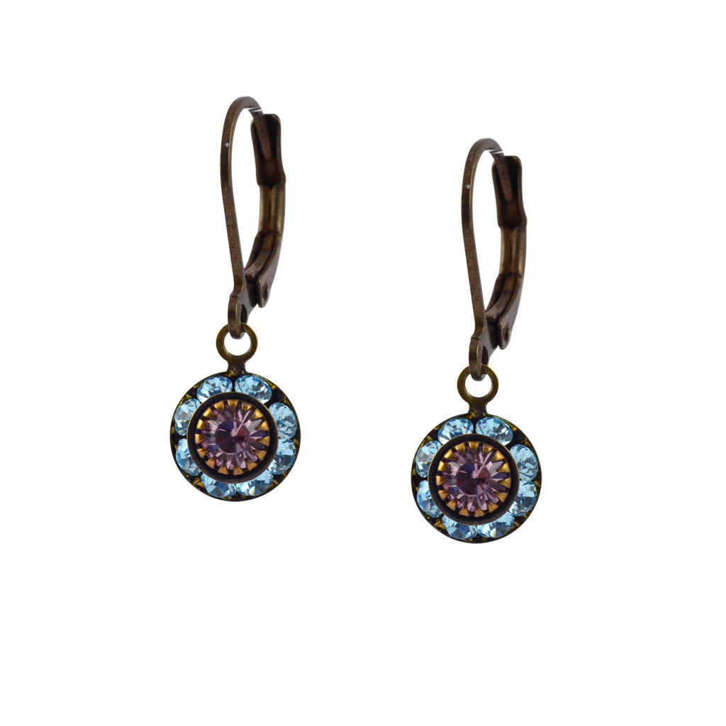 Caroline Heath Round Crystal Dangle Earrings, Brass Leverback Drop with Aqua and Purple Crystal