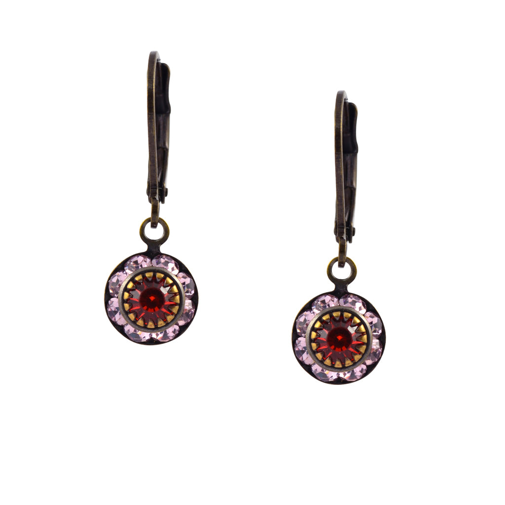 Caroline Heath Round Crystal Dangle Earrings, Brass Leverback Drop with Purple and Red Crystal