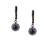 Caroline Heath Round Crystal Dangle Earrings, Brass Leverback Drop with Blue Crystal