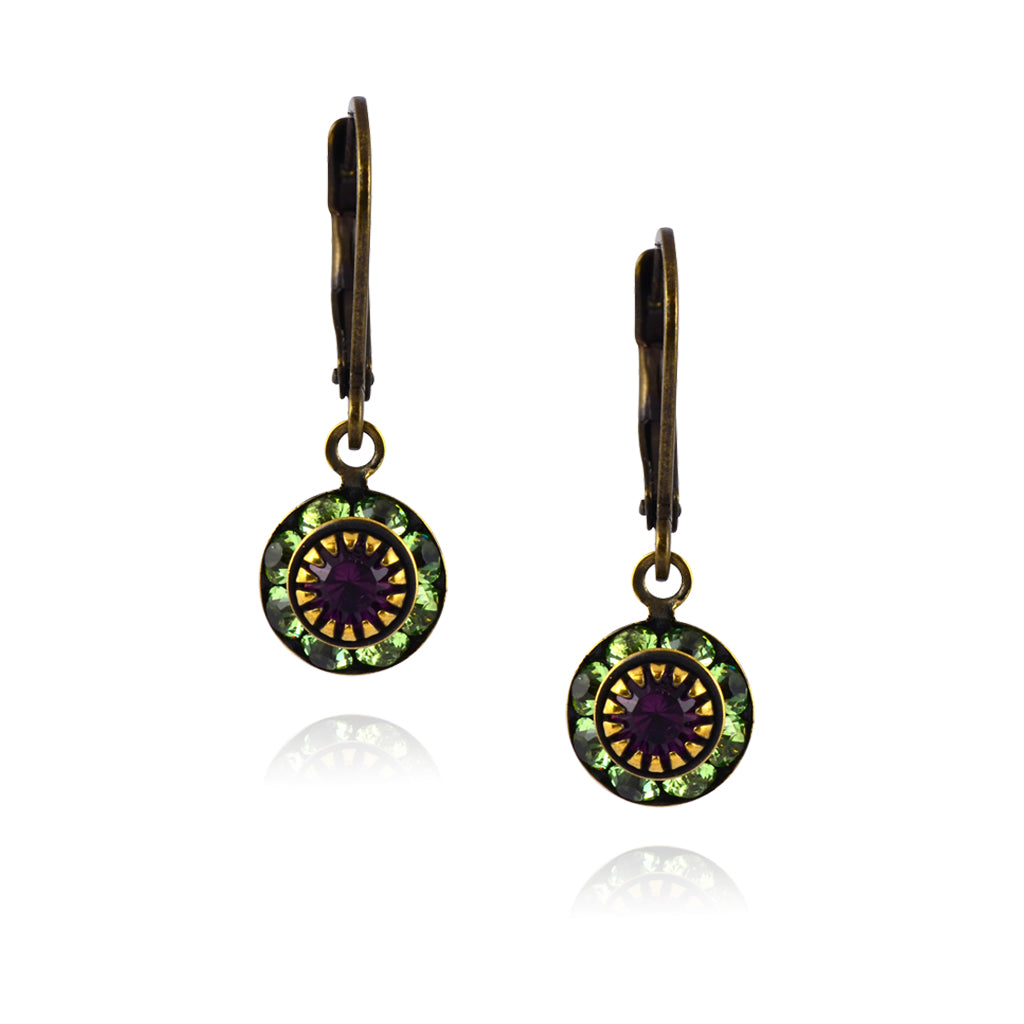 Caroline Heath Round Crystal Dangle Earrings, Antique Brass Leverback Drop with Green/Red Crystal