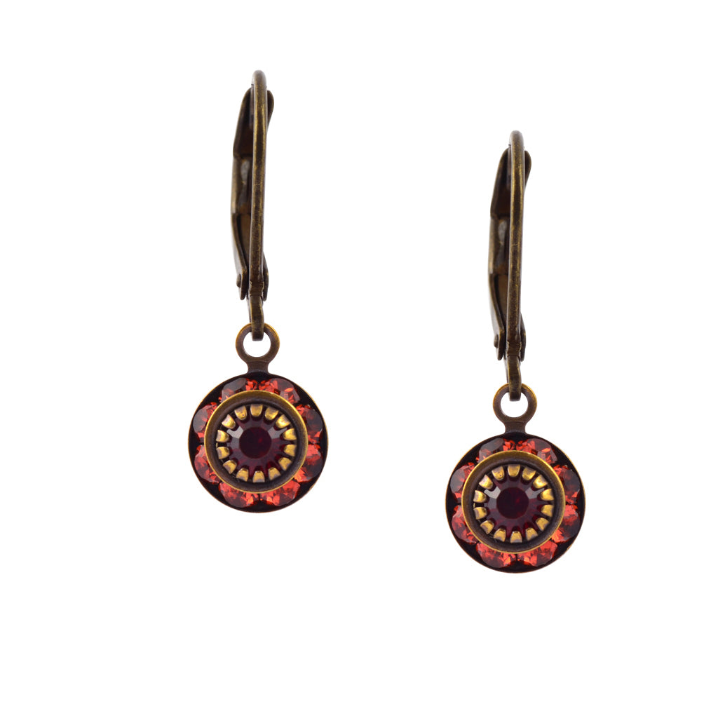 Caroline Heath Round Crystal Dangle Earrings, Brass Leverback Drop with Red Crystal