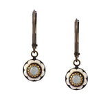 Caroline Heath Round Crystal Dangle Earrings, Brass Leverback Drop with White Crystal
