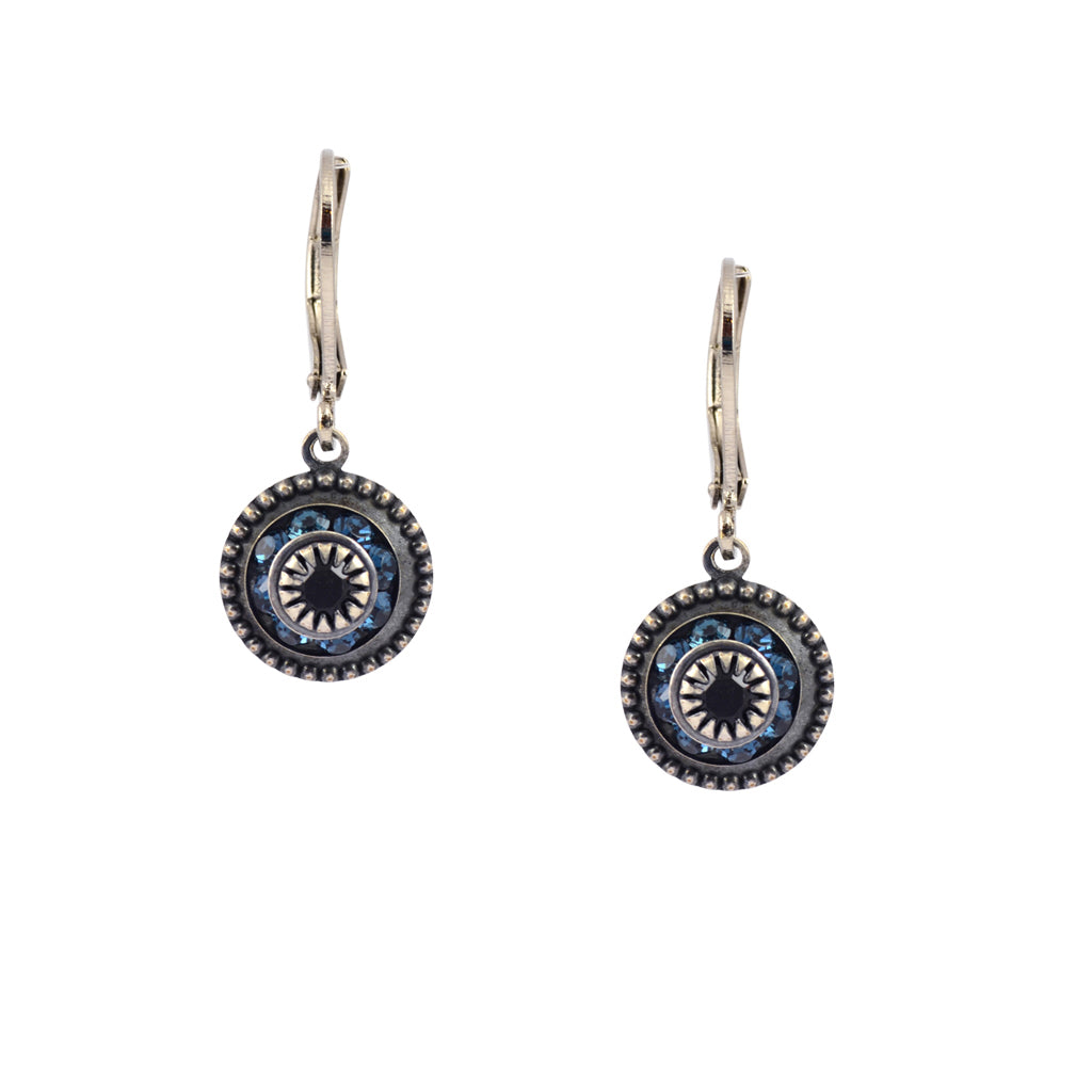Caroline Heath Round Crystal Dangle Earrings, Silver Plated Leverback Drop with Aqua and Black Crystal