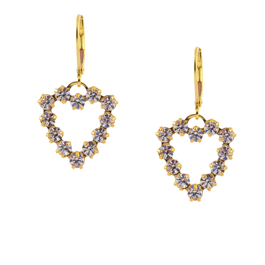 Caroline Heath Heart Crystal Dangle Earrings, Gold Plated Leverback Drop with Clear Crystal