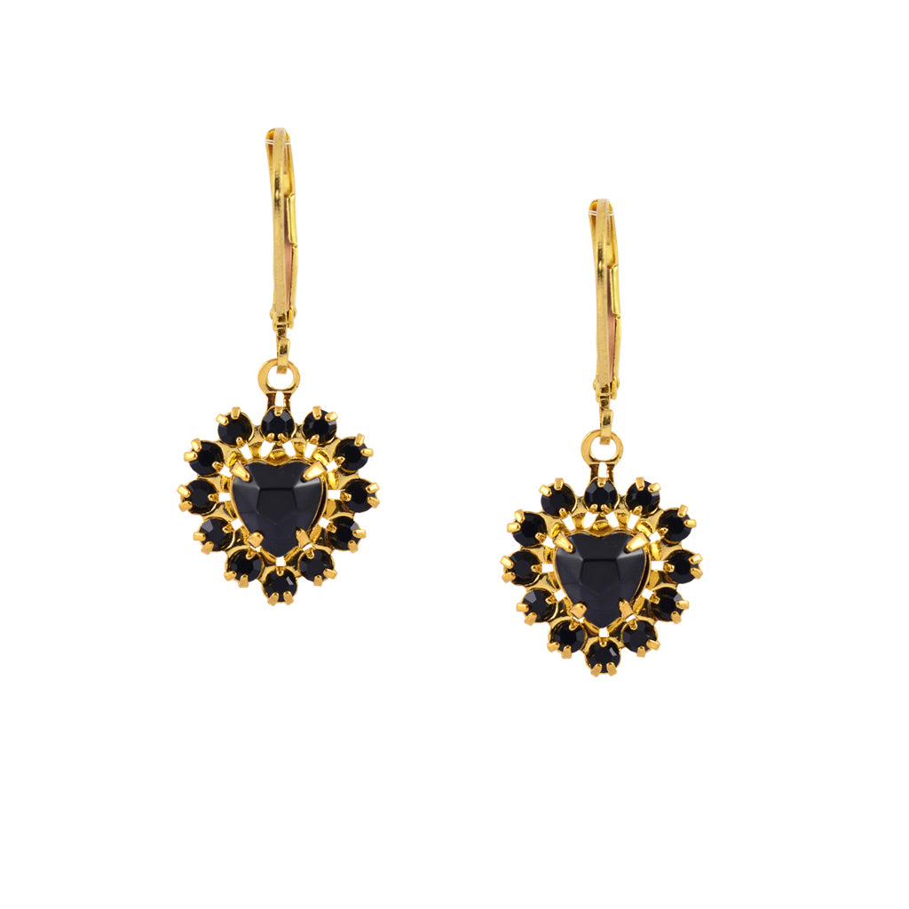 Caroline Heath Heart Crystal Dangle Earrings, Gold Plated Leverback Drop with Black Crystal