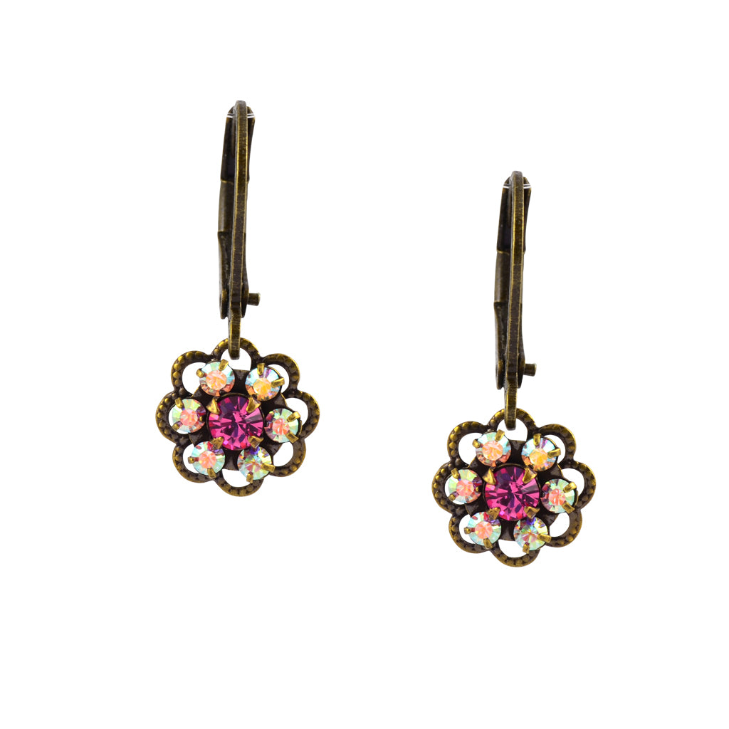 Caroline Heath Small Flower Earrings, Antique Brass Leverback Drop with AB and Rose Crystal