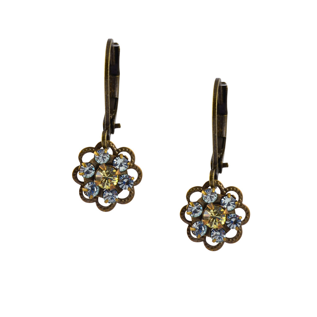 Caroline Heath Small Flower Earrings, Antique Brass Leverback Drop with Gray and Yellow Crystal