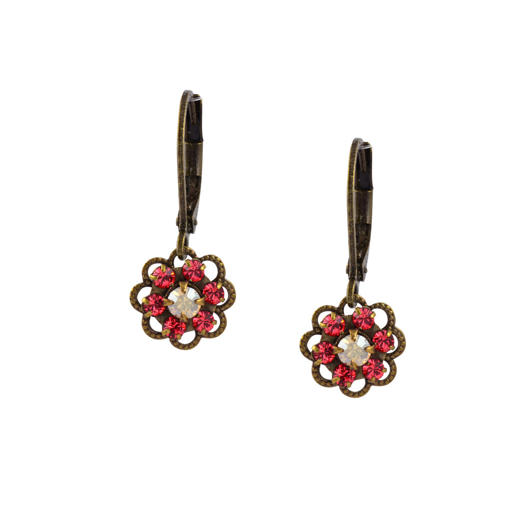 Caroline Heath Small Flower Earrings, Antique Brass Leverback Drop with Pink and Moonlight Crystal