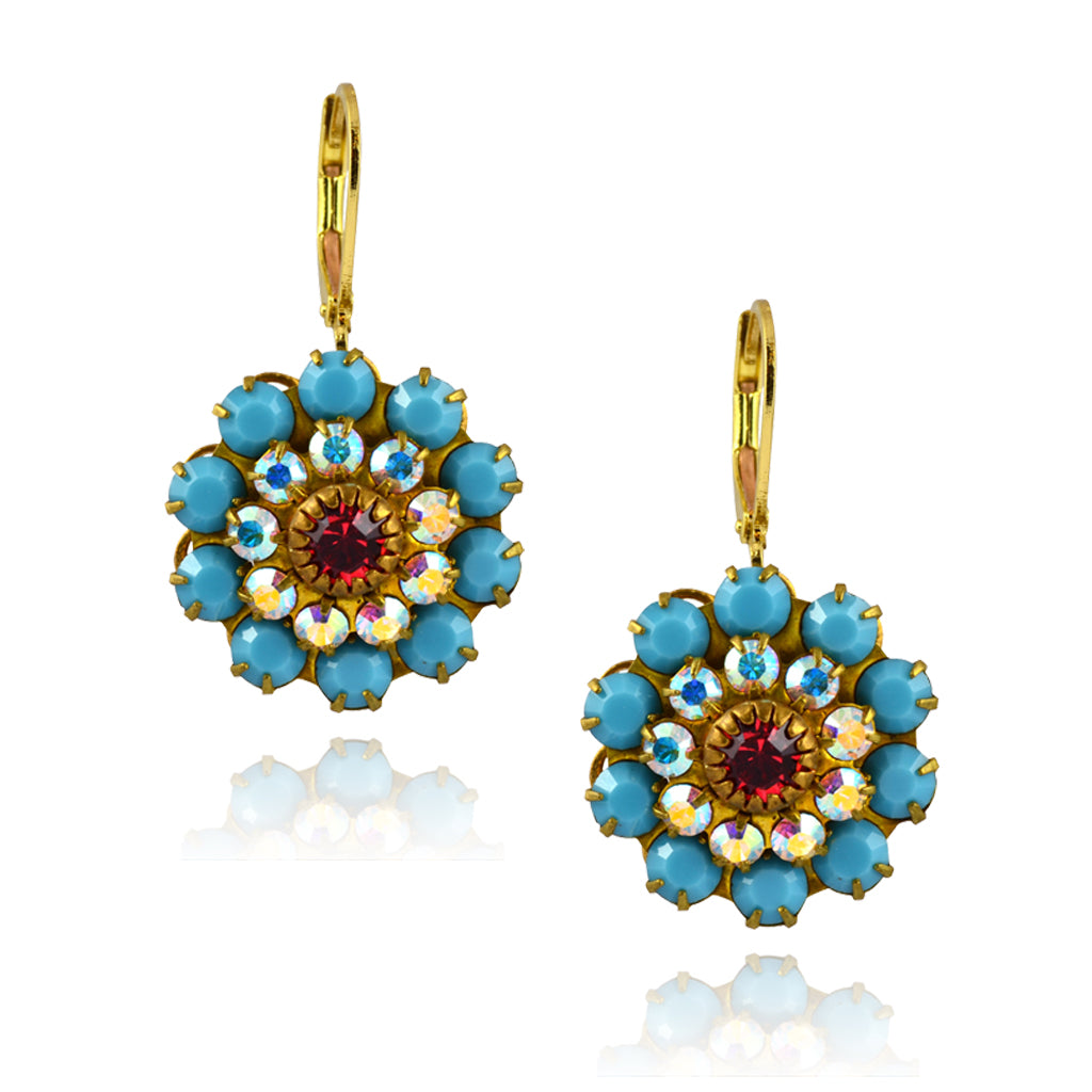 Caroline Heath Crystal Flower Earrings, Gold Plated Leverback Drop with Teal/Red Crystal