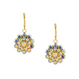 Caroline Heath Filigree Flower Earrings, Gold Plated Leverback Drop with AB Crystal