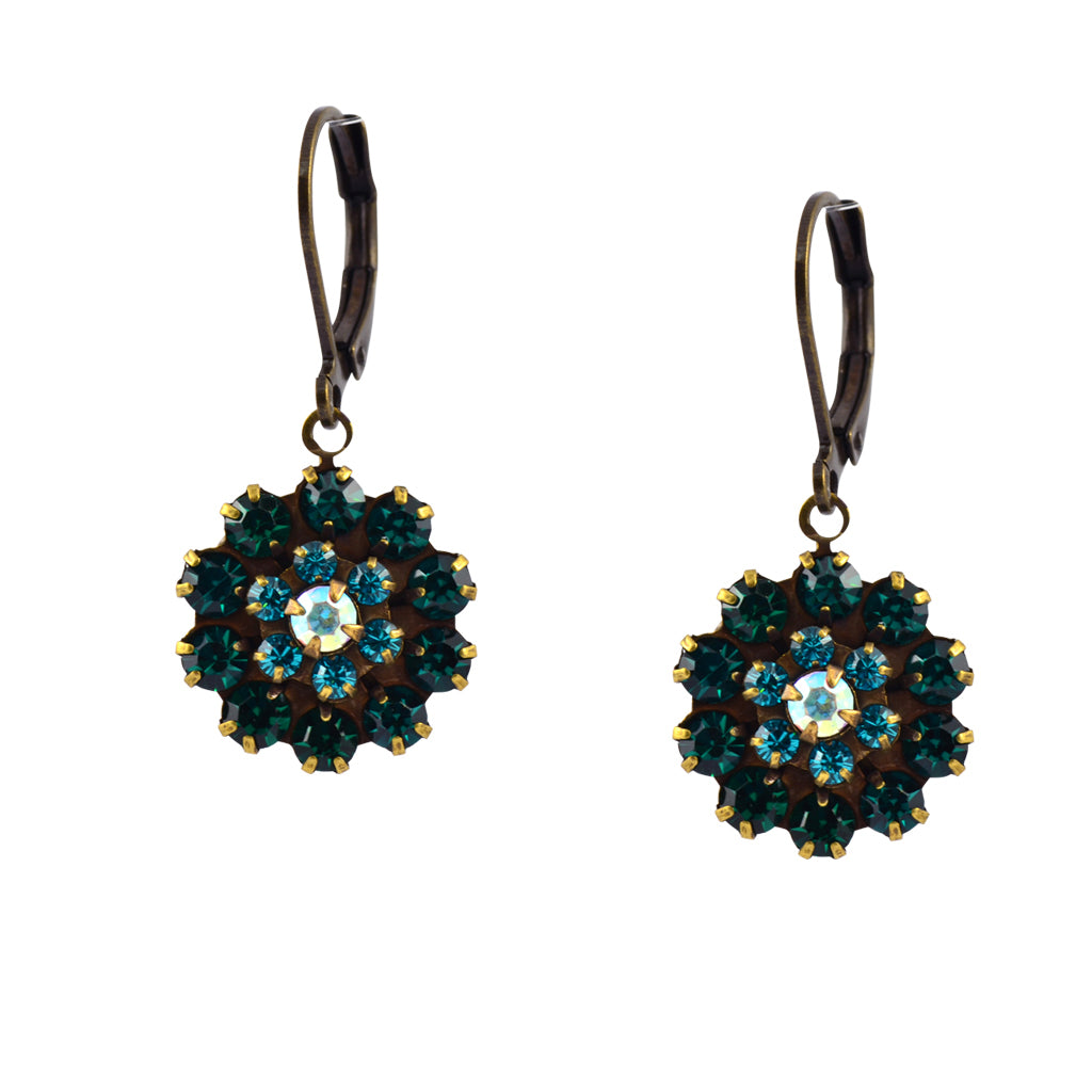 Caroline Heath Filigree Flower Earrings, Antique Brass Leverback Drop with Crystal