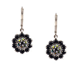 Caroline Heath Filigree Flower Earrings, Antique Silver Leverback Drop with Black and AB Crystal