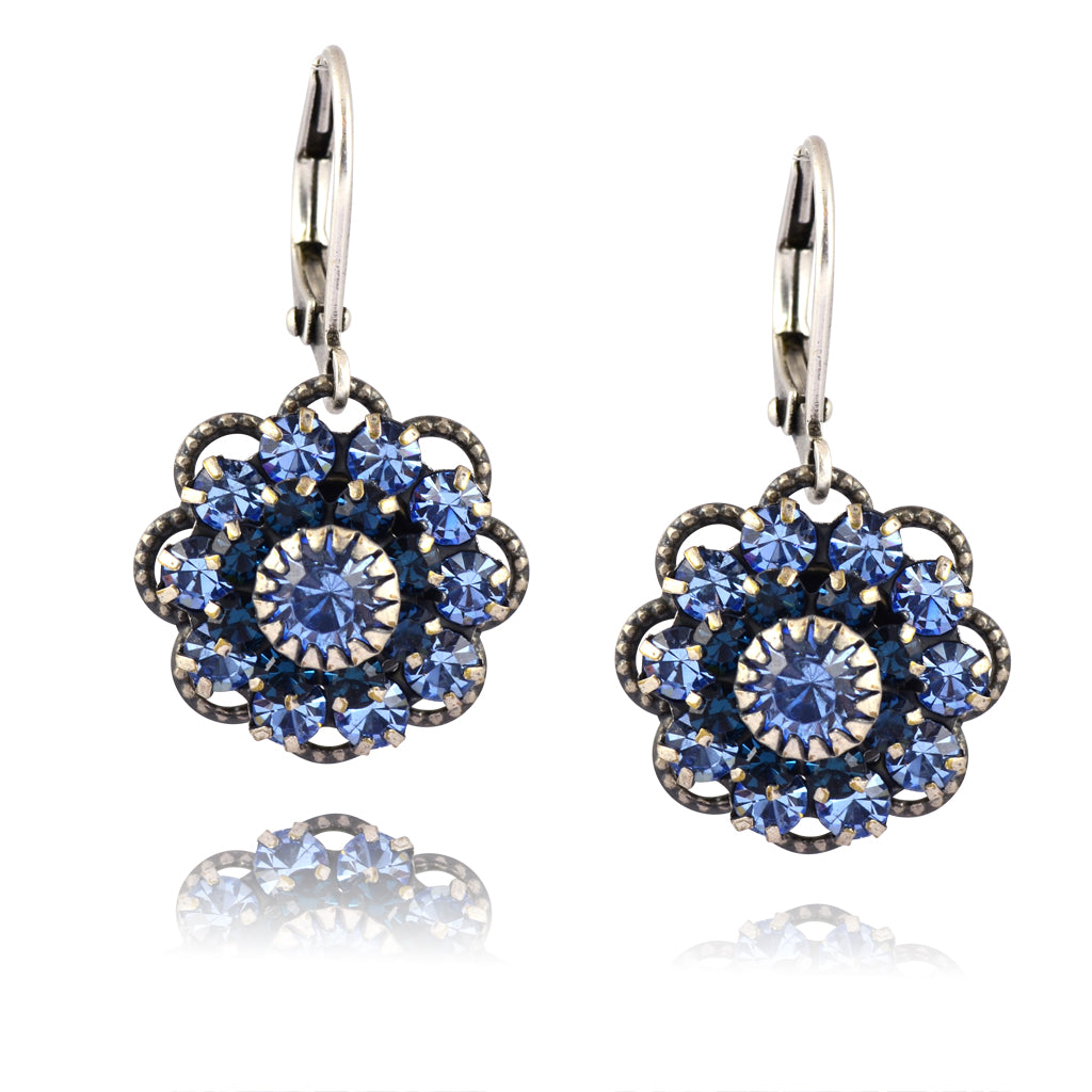 Caroline Heath Filigree Flower Earrings, Antique Brass Leverback Drop with Purple/Blue Crystal