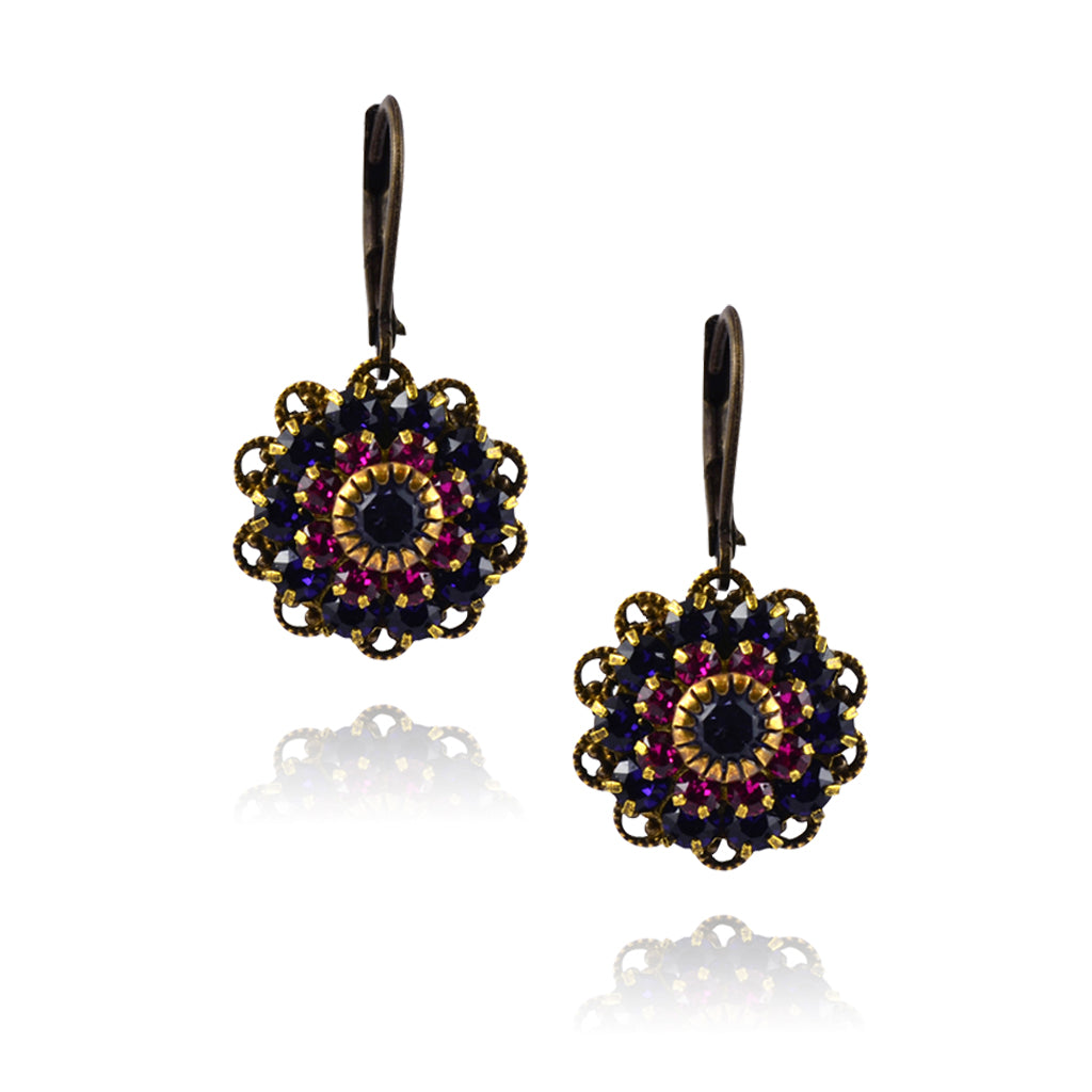 Caroline Heath Filigree Flower Earrings, Antique Brass Leverback Drop with Purple/Pink Crystal