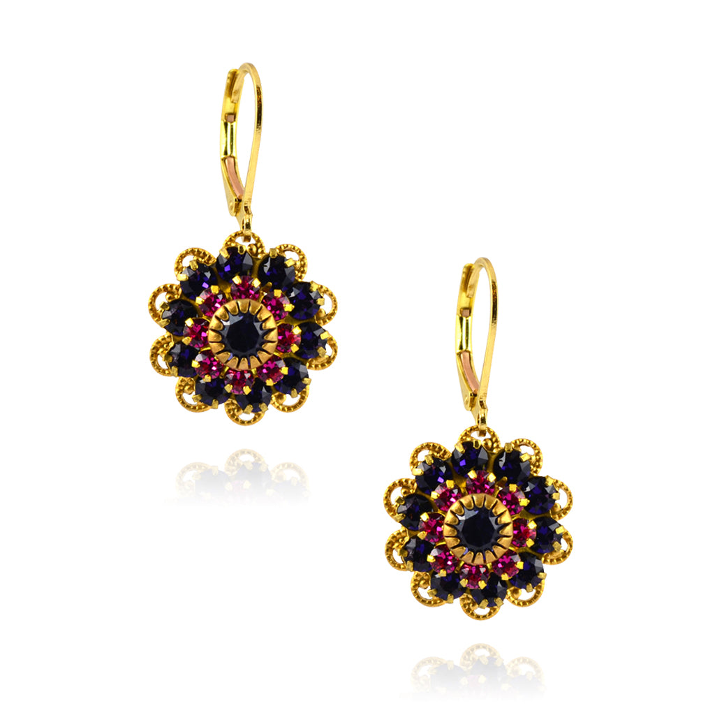 Caroline Heath Filigree Flower Earrings, Gold Plated Leverback Drop with Purple/Pink Crystal