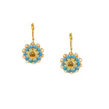 Caroline Heath Filigree Flower Earrings, Gold Plated Leverback Drop with Crystal
