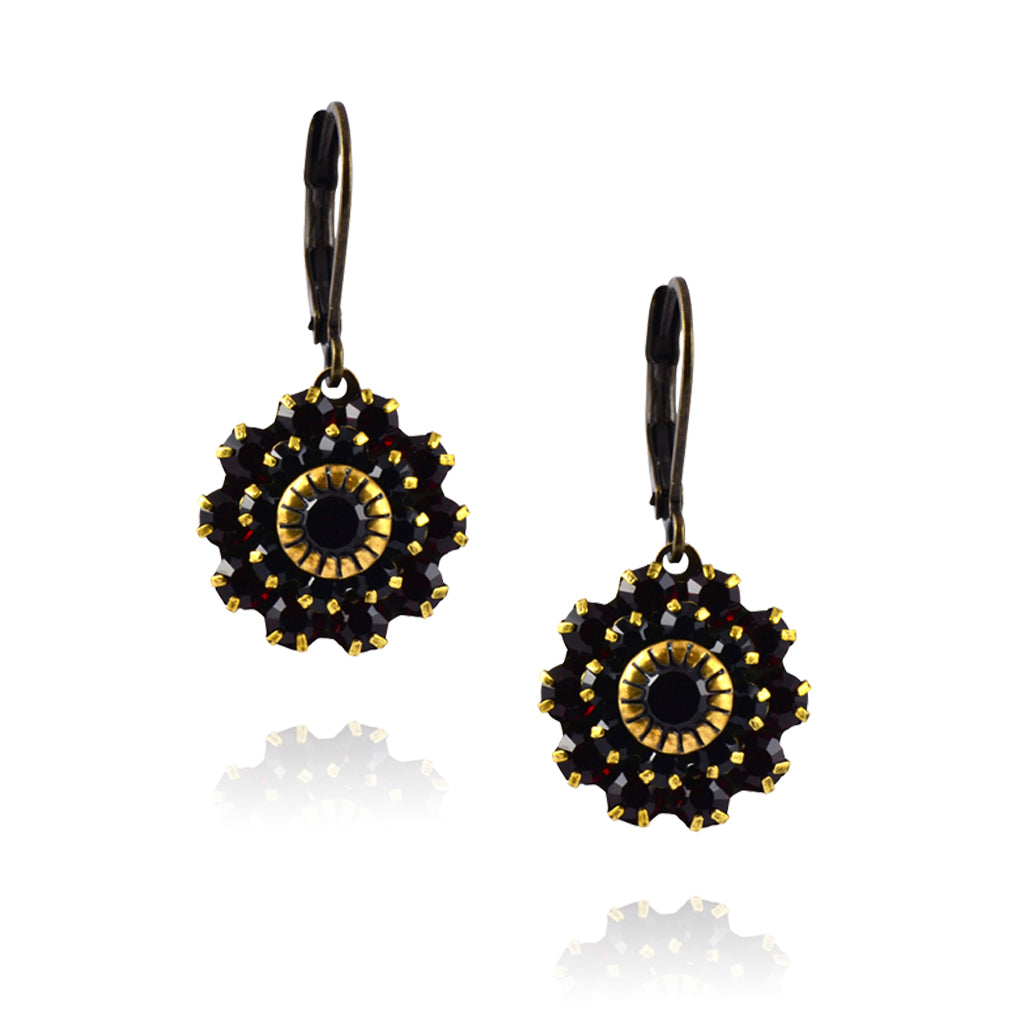 Caroline Heath Filigree Flower Earrings, Antique Brass Leverback Drop with Red/Black Crystal